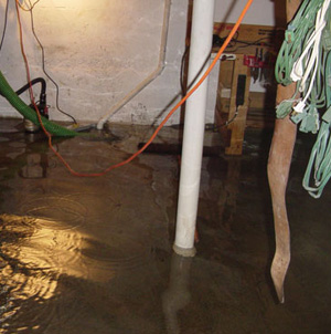 Foundation flooding in a Warrenton, Ohio home