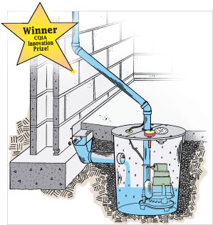 Winner CQIA Innovation Prize Sump Pump. DryTrak® Basement Water Control  System