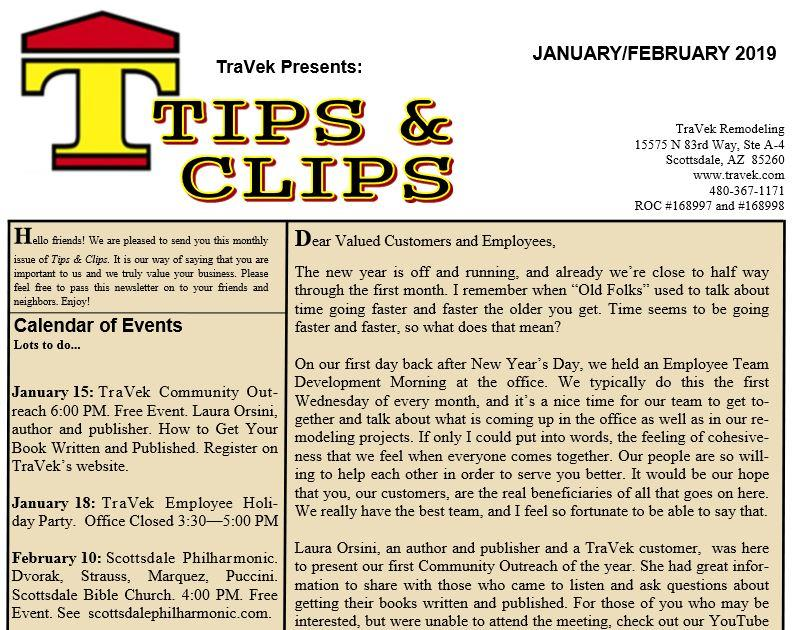 TraVek Inc Tips and Clips Newsletter January/February 2019