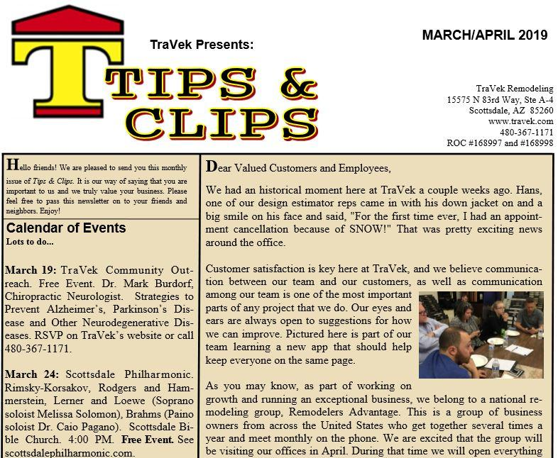 TraVek Inc Tips and Clips Newsletter March/April 2019