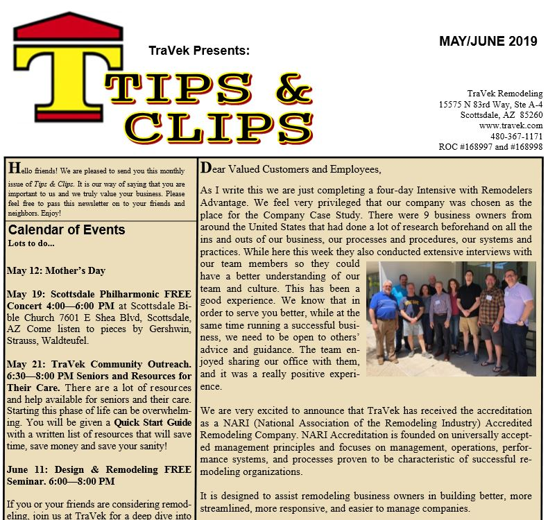 TraVek Inc Tips and Clips Newsletter May/June 2019