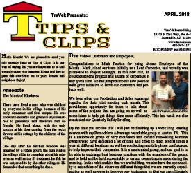 TraVek Inc Tips and Clips Newsletter April 2018