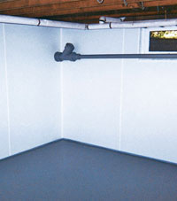 Plastic basement wall panels installed in a Springfield, OR home
