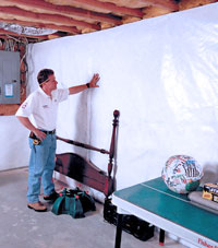 Plastic 20-mil vapor barrier for dirt basements, Vancouver, WA installation