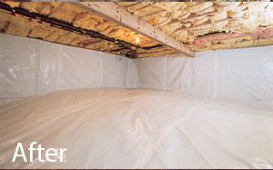 Dry, clean crawl space with moisture barrier