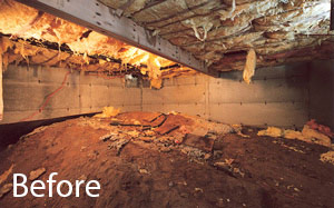 Debris and falling insulation in crawl space