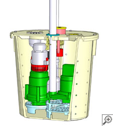 Illustration of two Zoeller sump pumps in a pump liner