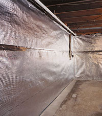 Radiant heat barrier and vapor barrier for finished basement walls in Redmond, OR