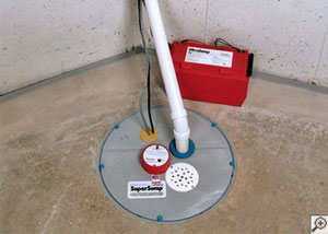A sump pump system with a battery backup system installed in Bend