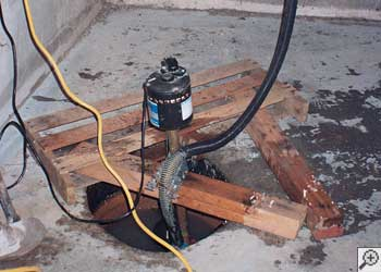 A Salem sump pump system that failed and lead to a basement flood.