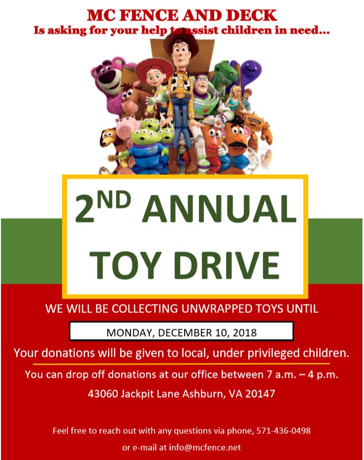 MC Fence and Deck is asking for your help to assist children in need with our 2nd Annual Toy Drive....