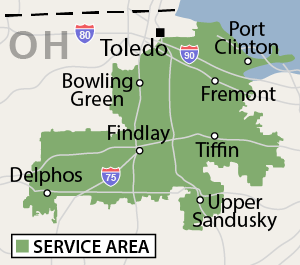 Our Ohio service area map, showing our services in Findlay and nearby