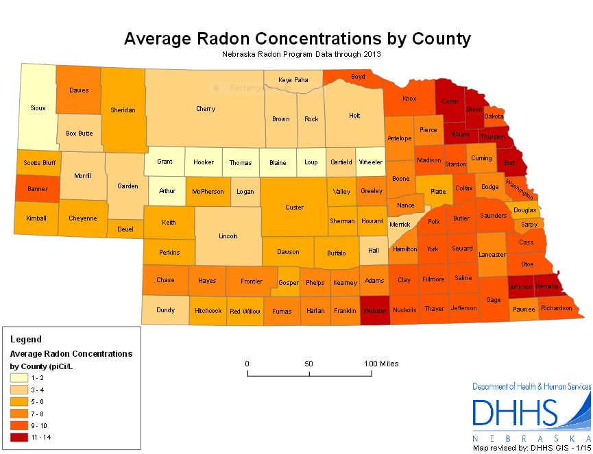 Radon Surgeon General Warnings Risks Facts Radon Map Nebraska - Nebraska on a us map