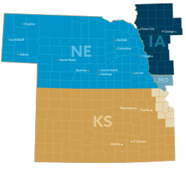 Our Nebraska, Iowa, Kansas, and Missouri Service Area
