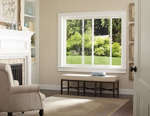 Interior view of slider window in living room