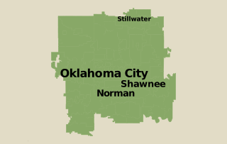 Our Oklahoma service area map, showing our services in Oklahoma City and nearby