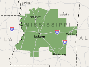 Our Mississippi service area map, showing our services in Jackson and nearby