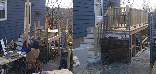 This customized deck in Burlington MA functions as a side entrance to the home. In the particular deck there is...