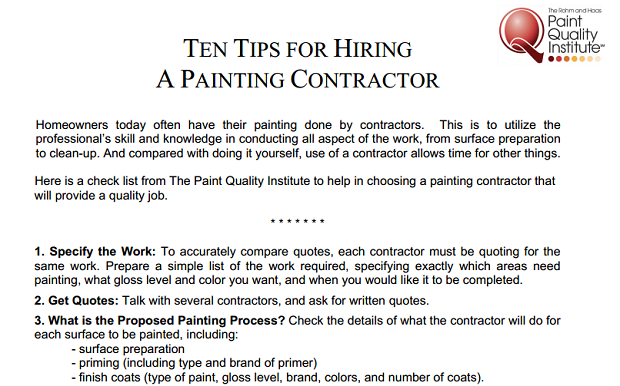 Ten Tips For Hiring A Painter