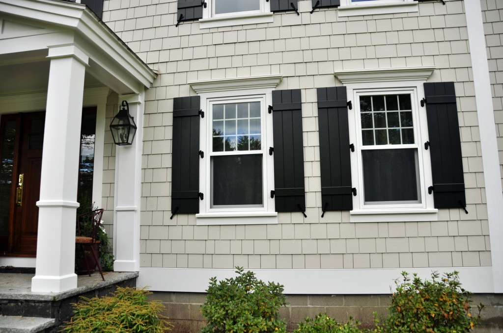 James Hardie White House Black Shutters