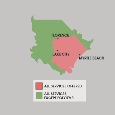 Our North Carolina and South Carolina service area map, showing our services in Orangeburg, South Carolina, and nearby