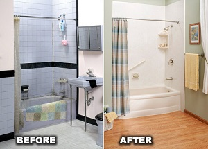 Before and after bath remodel