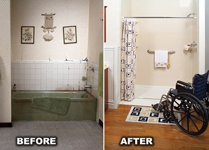 Before and after tub-to-shower conversion