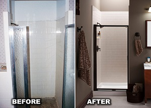 Before and after walk-in shower
