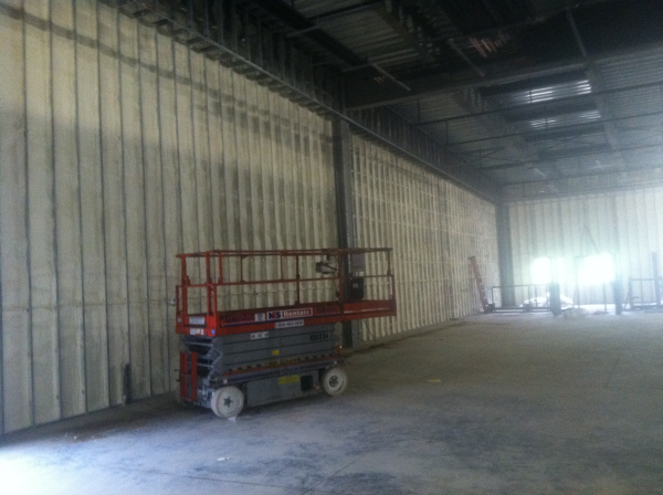 Completed spray foam, commercial job, high walls, lift, spray foam, open cell, closed cell, icynene