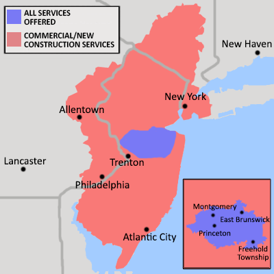 State Of New Jersey NJ NY And PA Contractor Serving - Map insulation