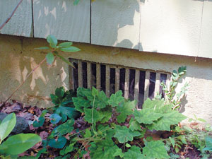 Grated Crawl Space Vents outside a home in North Bend, BC