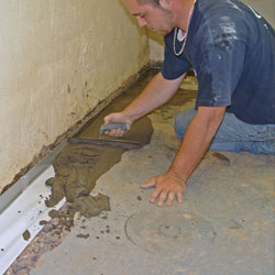 installing a drain tile system in a Pottstown home