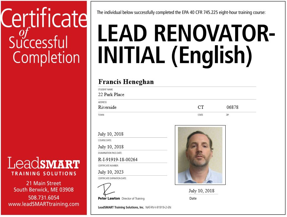 Lead Renovator Certificate of Successful Completion
