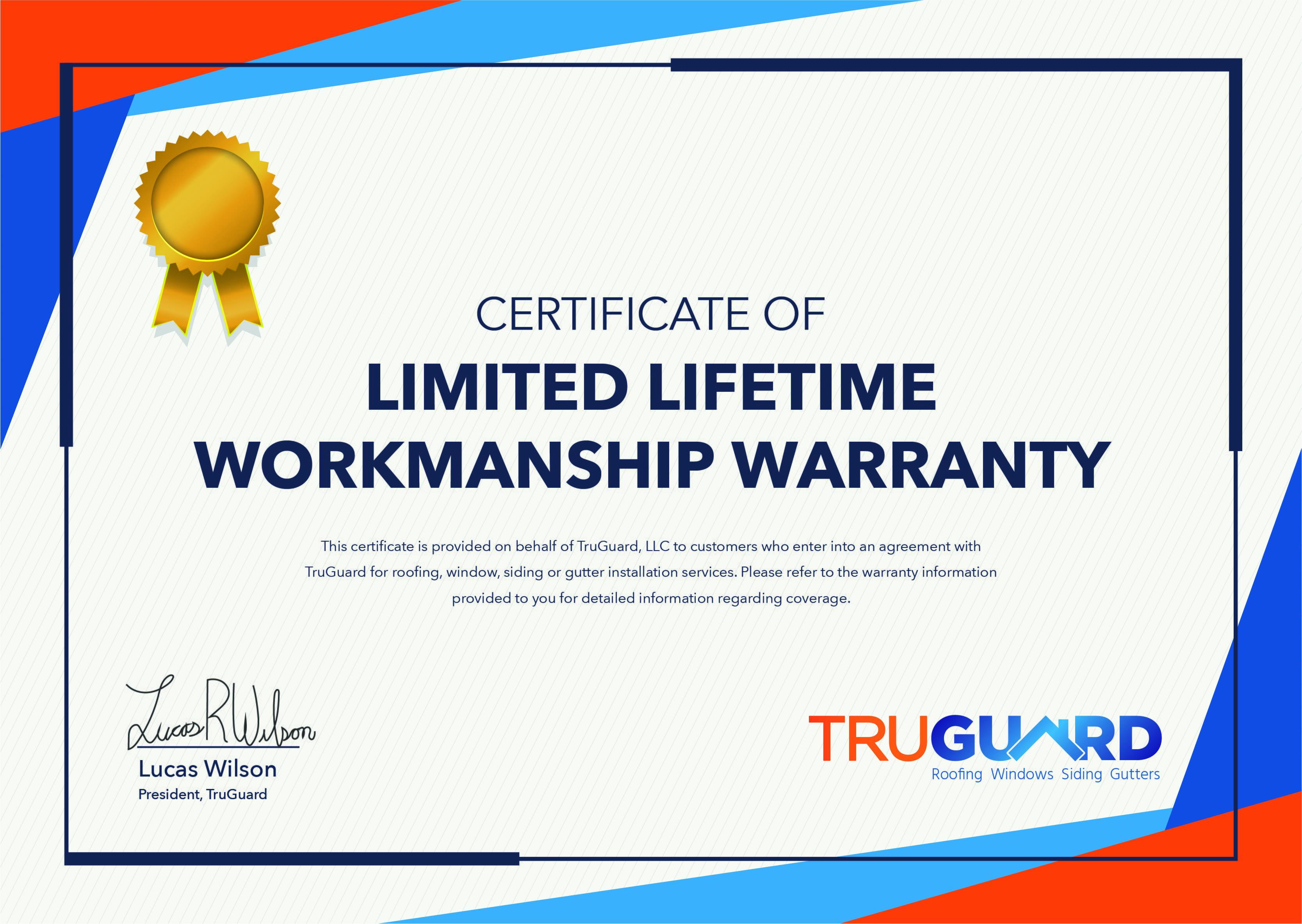 Lifetime Warranty Certificate