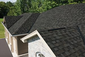Home with shingle roofing
