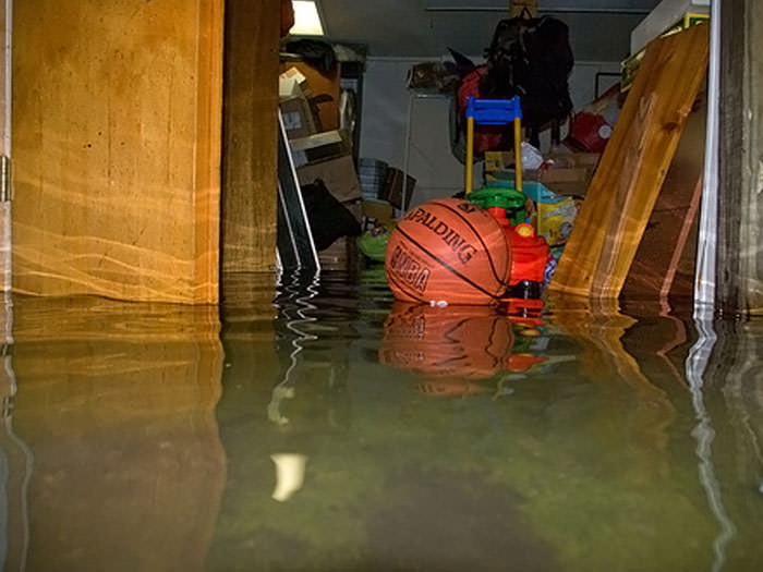 Flooded basement in a Clarence Center home.