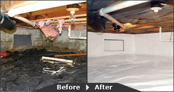 A before and after look at a crawl space, replaced with Our complete crawl space waterproofing system