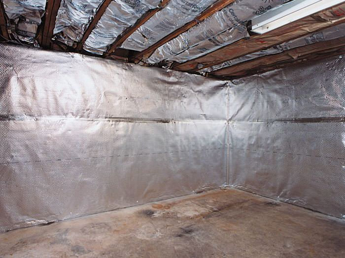 Radiant barrier installed in a basement in Kingsport, TN