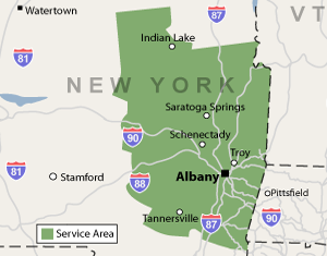 Our New York service area map, showing our services in Schenectady and nearby