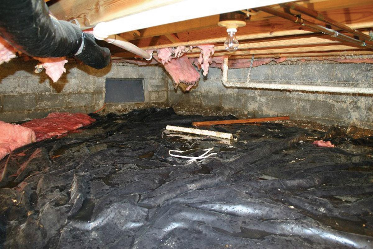 Unvented Crawl Space with falling insulation and water on floor