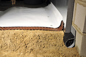 Crawl space perimeter drain waterproofing & insulating