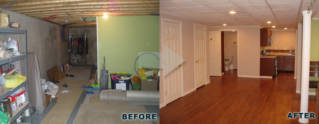 Delightful Basement Finishing Before And After Pictures In Maine