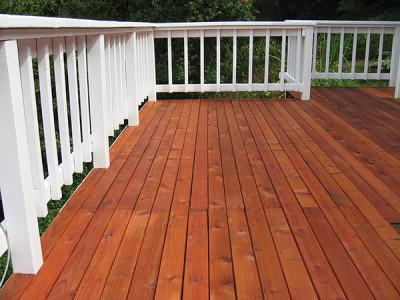 A recently stained deck