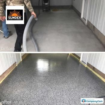 Garage floor coating before and after