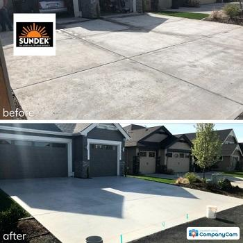 SUNDEK driveway resurfacing before and after