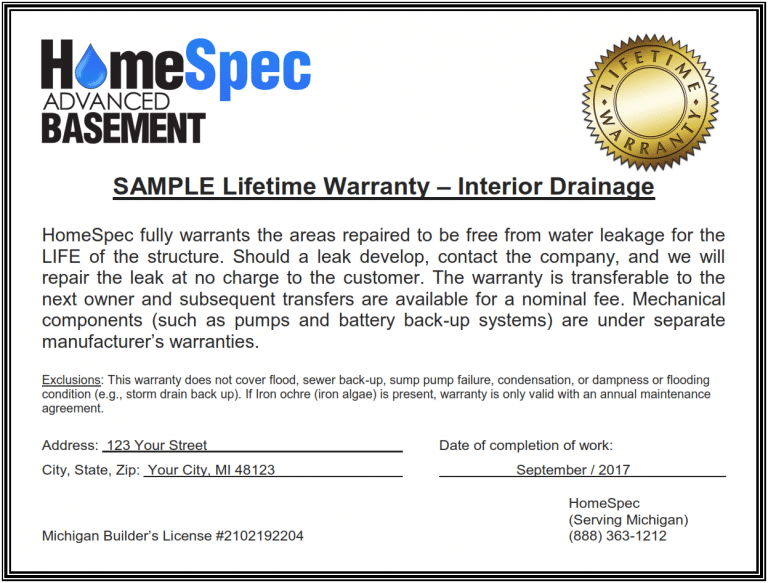 Sample Warranty