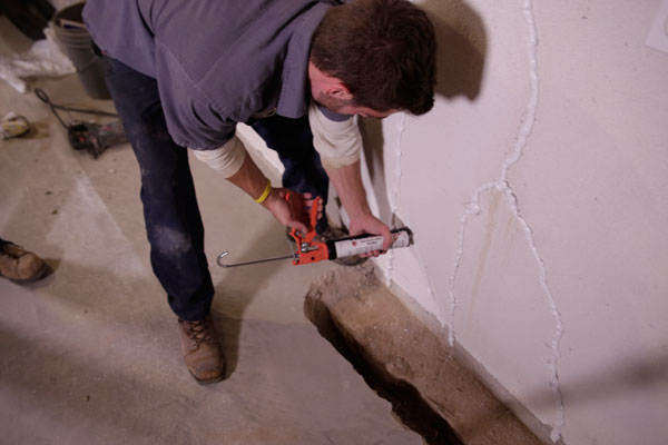 Leaking wall crack · Failed Crack Repair Failed do it yourself wall crack seal found ... & Basement Floor u0026 Wall Crack Repair | Repair Leaking Cracks in ...