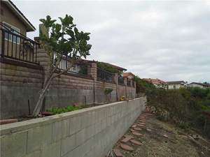 Damaged retaining wall in San Pedro