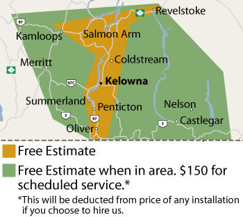 Our British Columbia service area map, showing our services in Kelowna and nearby