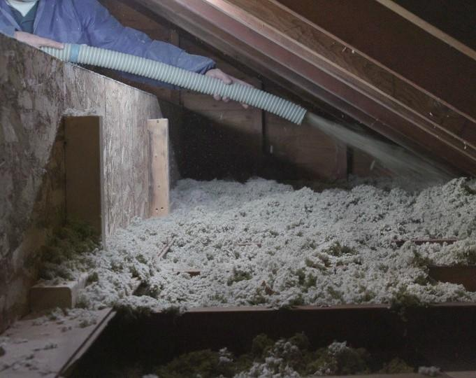 ProWool™ insulation is blown into an attic